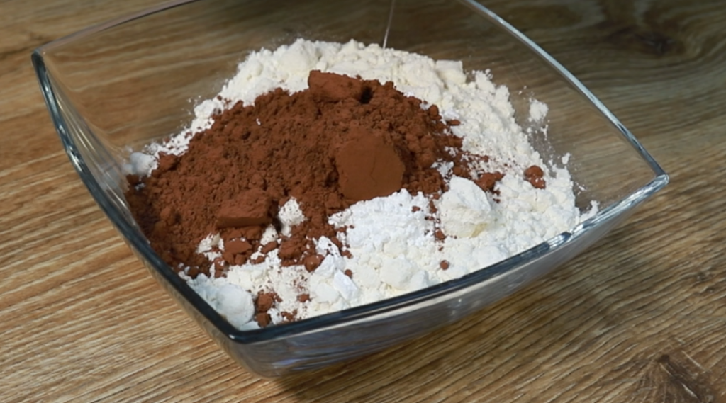 flour and cocoa