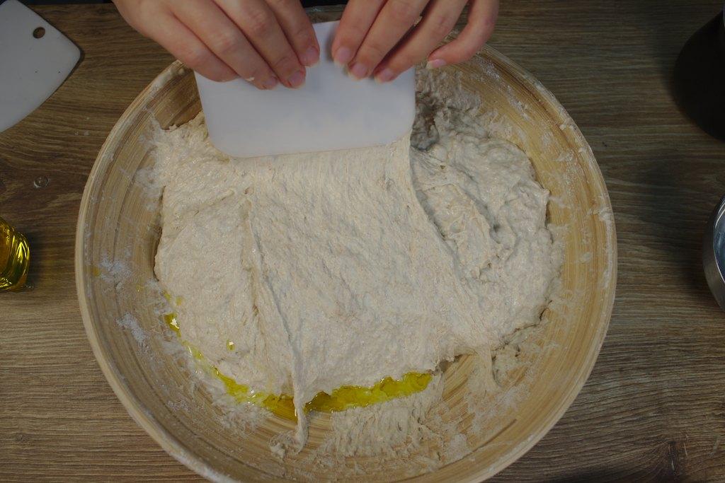 bread recipe - flour mixture with oil